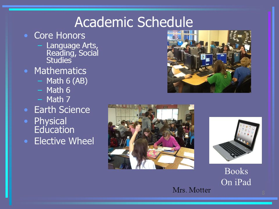 Academic Schedule Core Honors Mathematics Earth Science