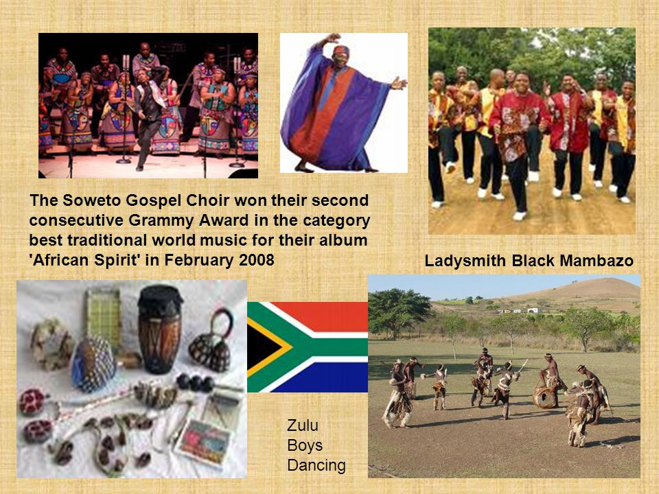 The Soweto Gospel Choir won their second consecutive Grammy Award in the category best traditional world music for their album African Spirit in February 2008