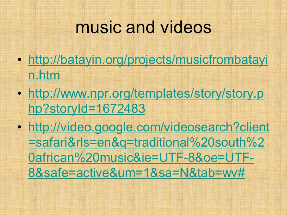 music and videos http://batayin.org/projects/musicfrombatayin.htm
