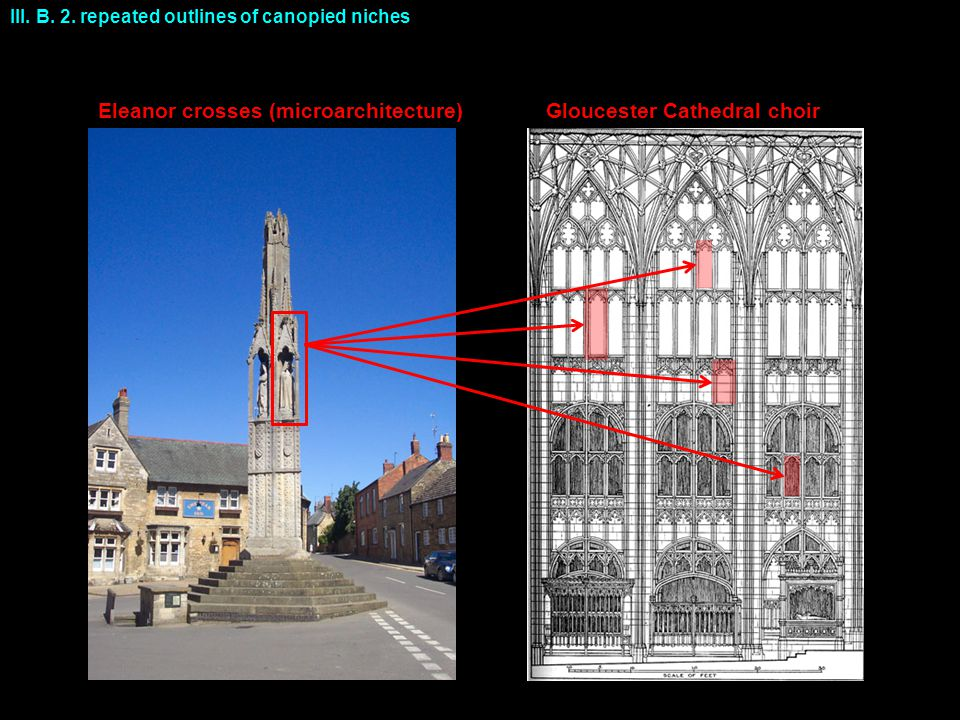 Eleanor crosses (microarchitecture) Gloucester Cathedral choir