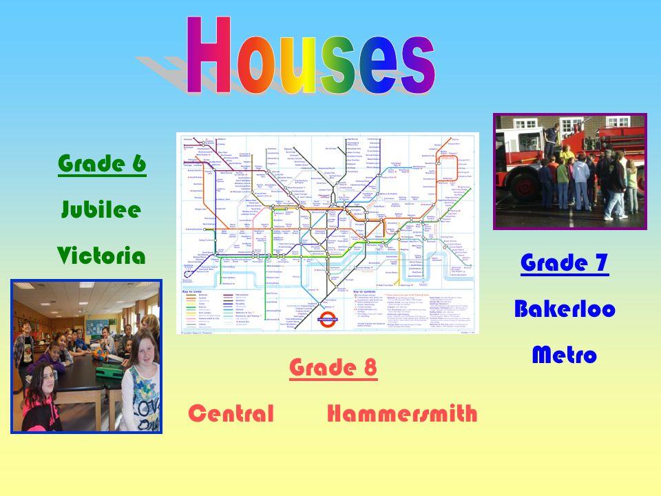 Houses Grade 6 Jubilee Victoria Grade 7 Bakerloo Metro Grade 8