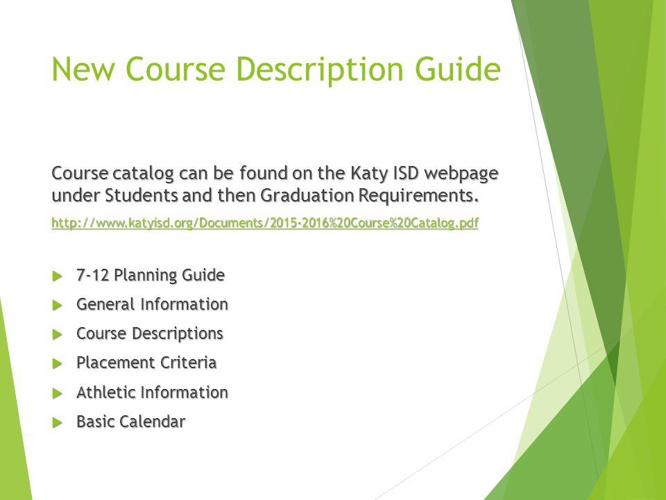 New Course Description Guide