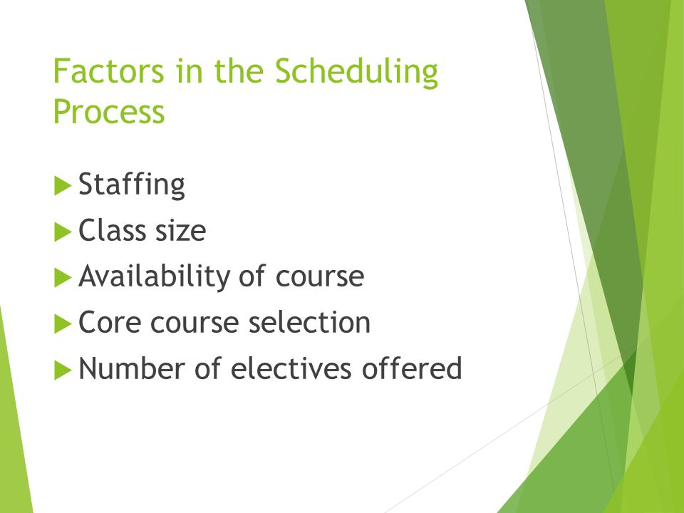 Factors in the Scheduling Process