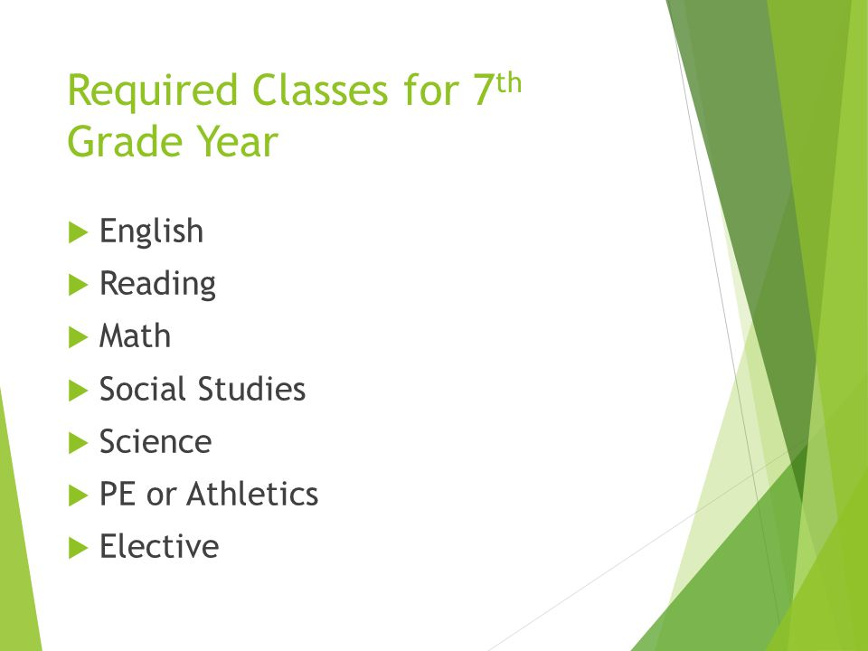 Required Classes for 7th Grade Year