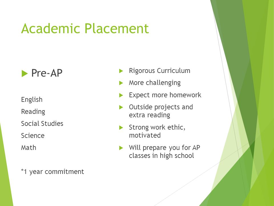 Academic Placement Pre-AP English Reading Social Studies Science Math