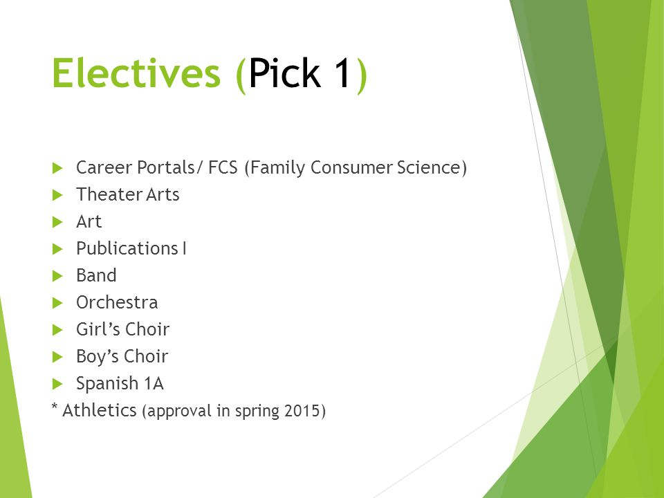 Electives (Pick 1) Career Portals/ FCS (Family Consumer Science)