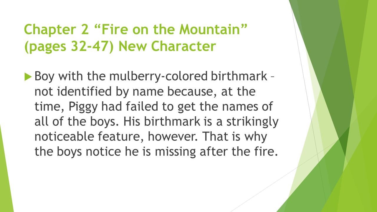 Chapter 2 Fire on the Mountain (pages 32-47) New Character