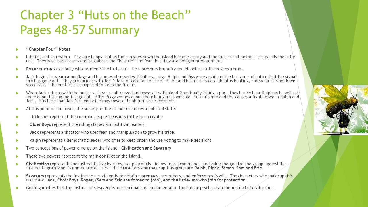Chapter 3 Huts on the Beach Pages 48-57 Summary