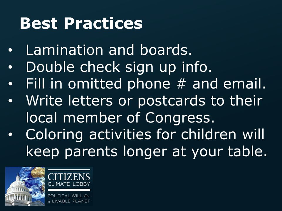 Best Practices Lamination and boards. Double check sign up info.