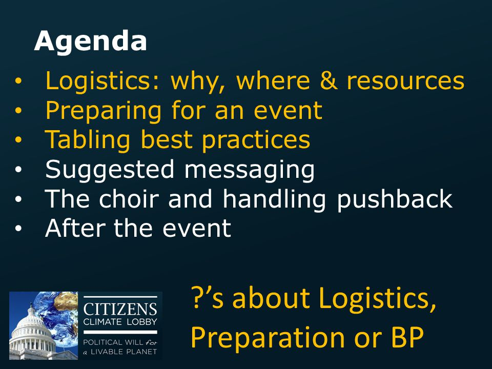 's about Logistics, Preparation or BP
