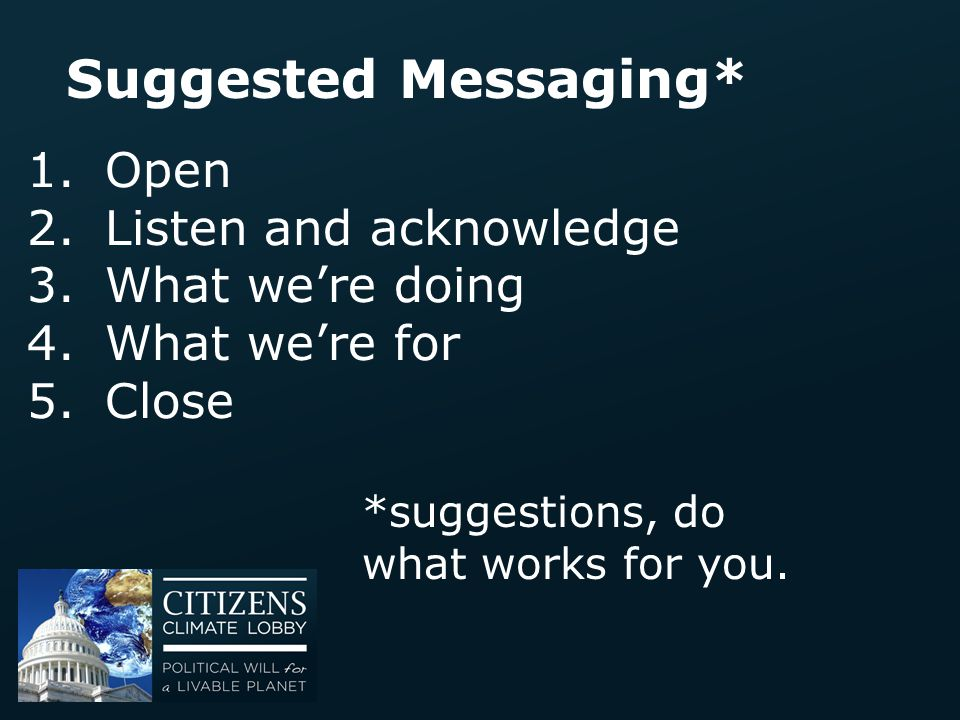 Suggested Messaging* Open Listen and acknowledge What we're doing