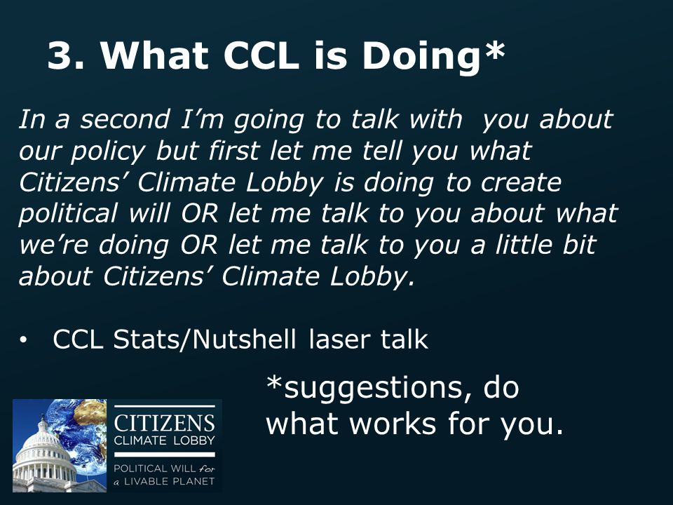 3. What CCL is Doing* *suggestions, do what works for you.