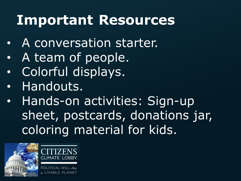 Important Resources A conversation starter. A team of people.