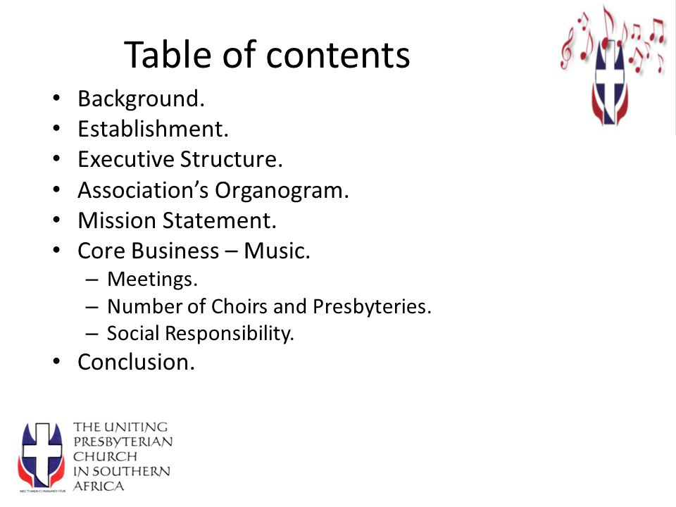 Table of contents Background. Establishment. Executive Structure.