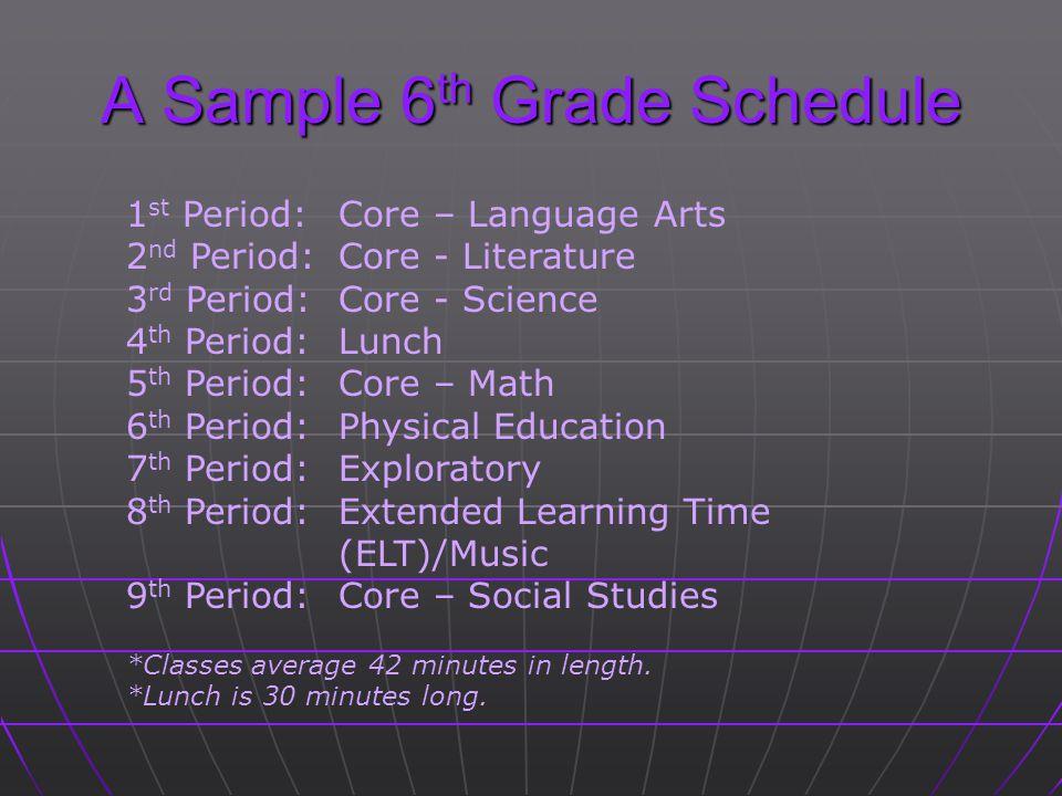 A Sample 6th Grade Schedule