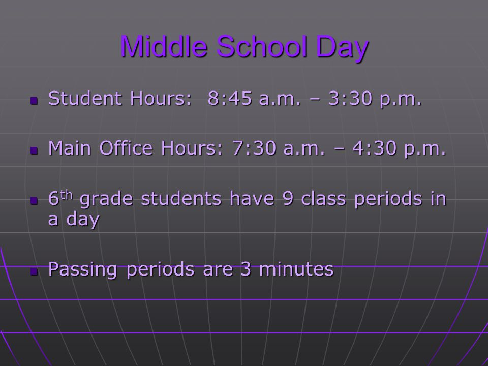 Middle School Day Student Hours: 8:45 a.m. – 3:30 p.m.