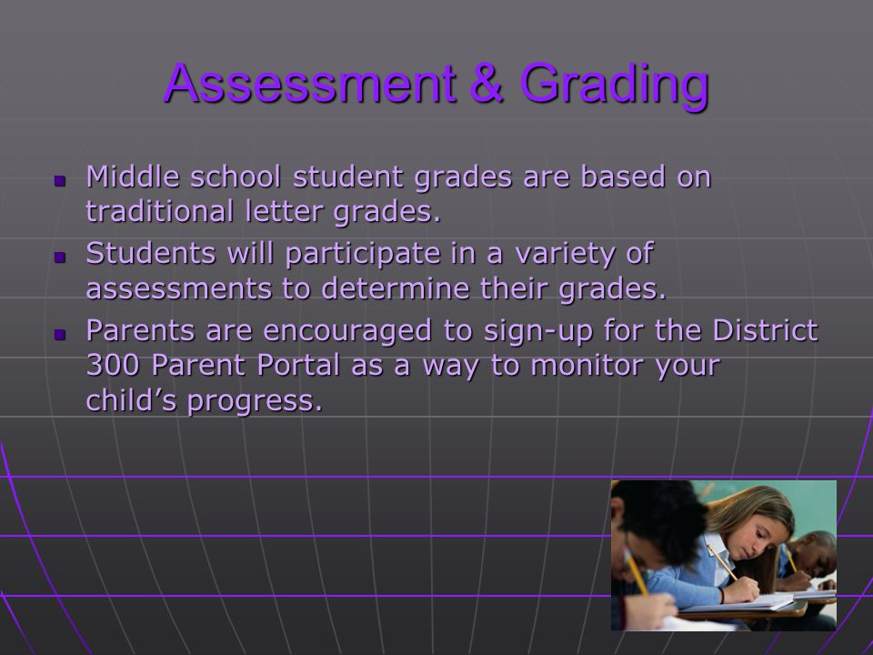 Assessment & Grading Middle school student grades are based on traditional letter grades.