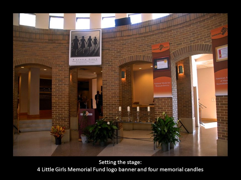 4 Little Girls Memorial Fund logo banner and four memorial candles