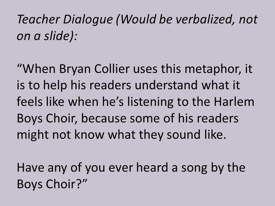 Teacher Dialogue (Would be verbalized, not on a slide):