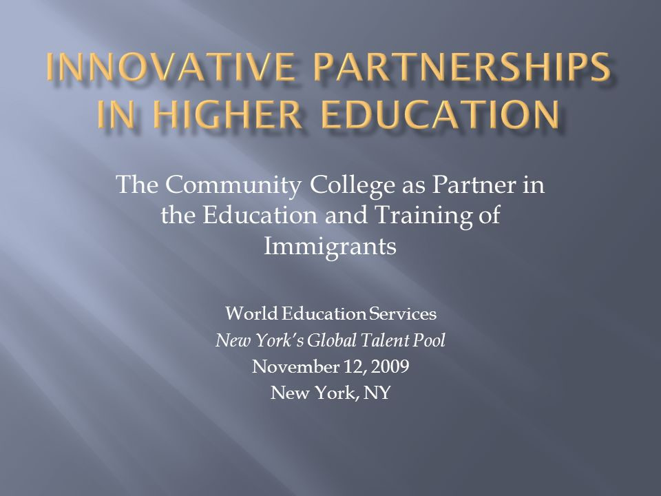 Innovative Partnerships in Higher Education
