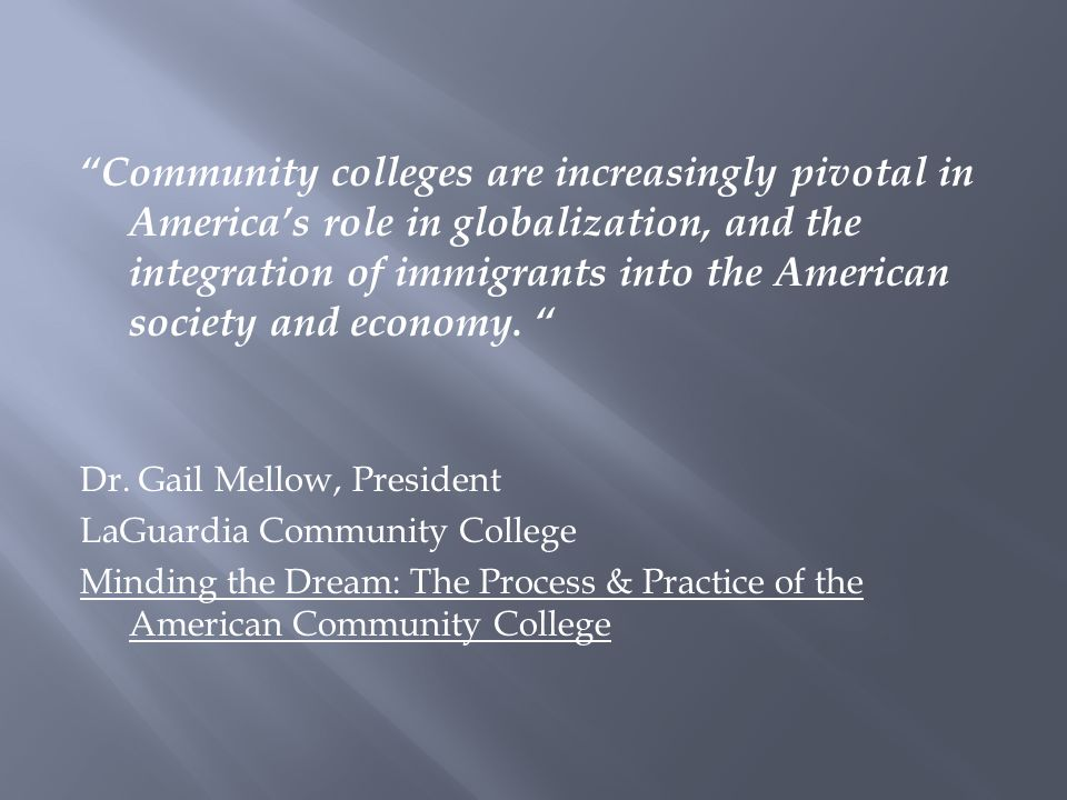 Community colleges are increasingly pivotal in America's role in globalization, and the integration of immigrants into the American society and economy.