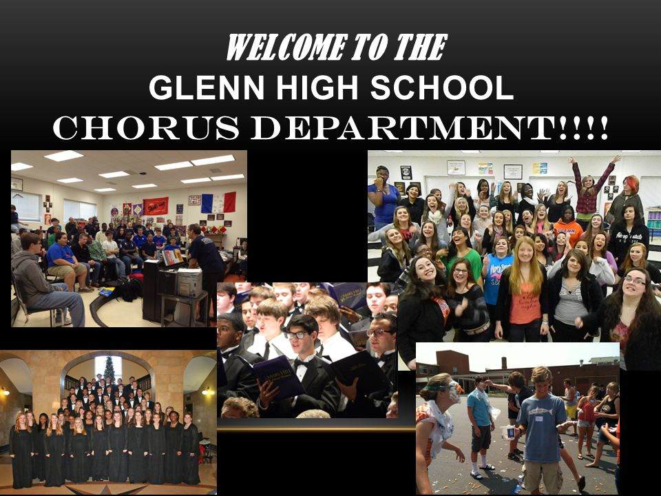 WELCOME to the Glenn High School CHORUS Department!!!!