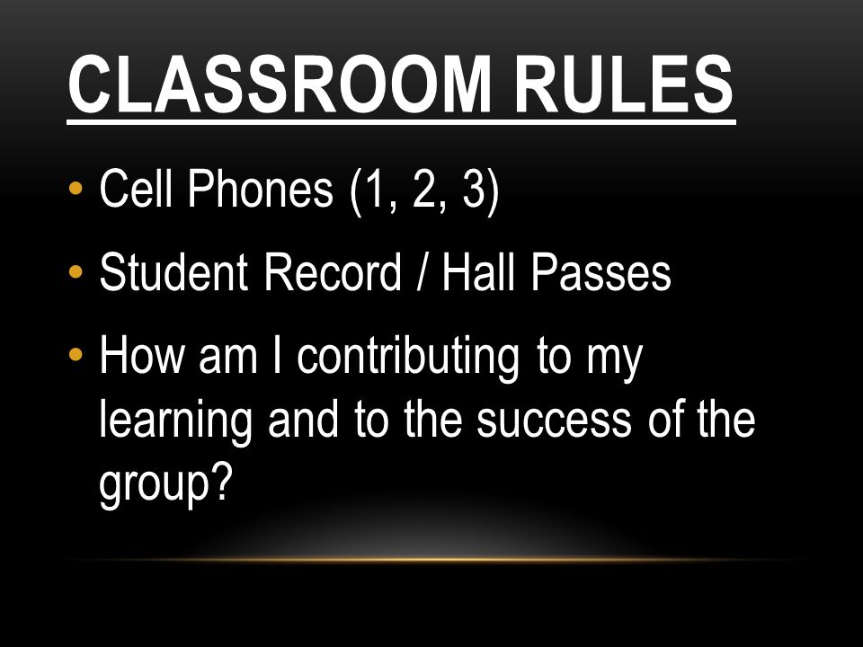Classroom Rules Cell Phones (1, 2, 3) Student Record / Hall Passes