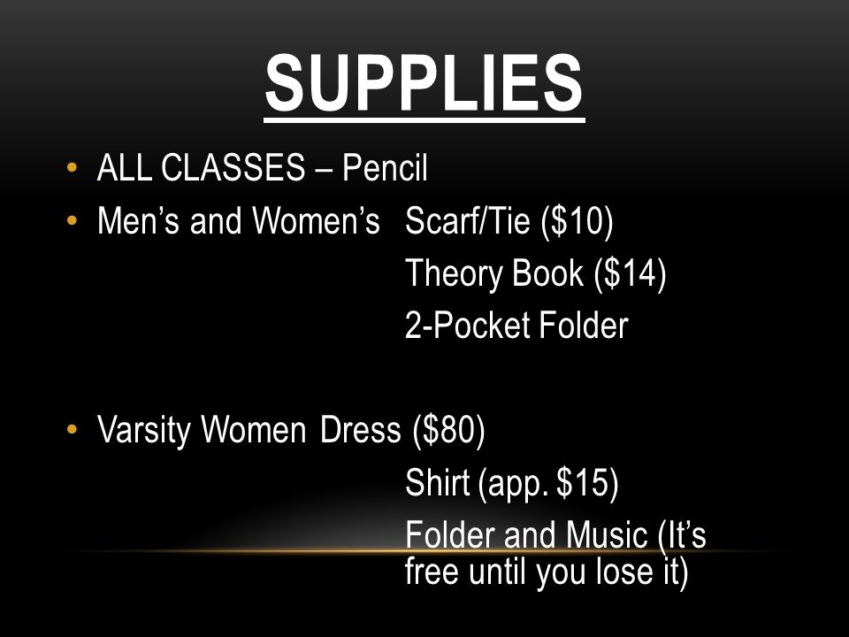 Supplies ALL CLASSES – Pencil Men's and Women's Scarf/Tie ($10)
