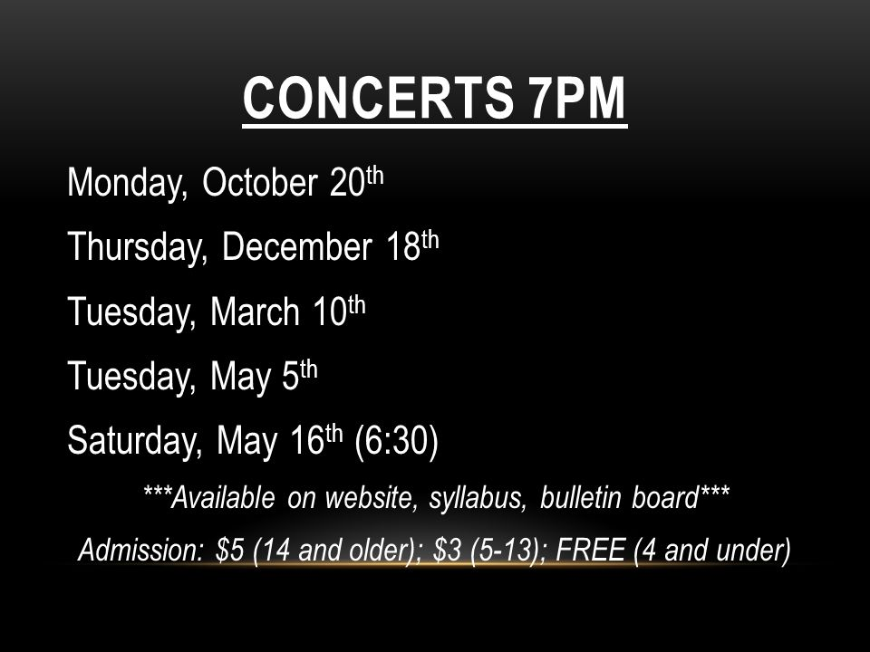 Concerts 7PM Monday, October 20th Thursday, December 18th