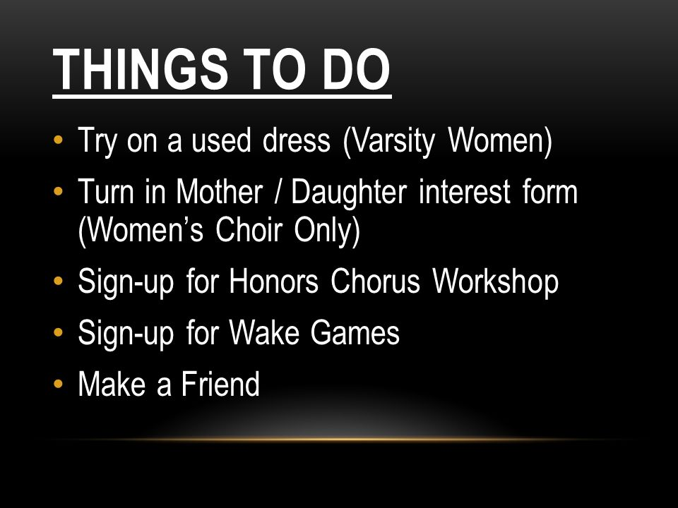 Things to Do Try on a used dress (Varsity Women)
