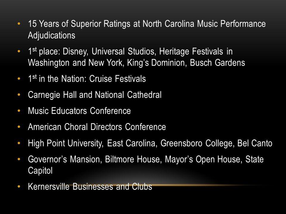 15 Years of Superior Ratings at North Carolina Music Performance Adjudications
