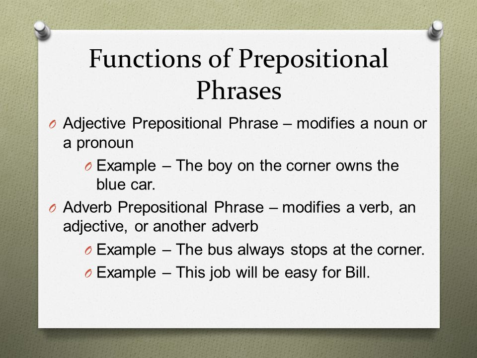 Functions of Prepositional Phrases