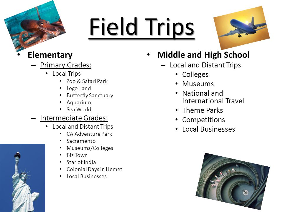 Field Trips Elementary Middle and High School Primary Grades: