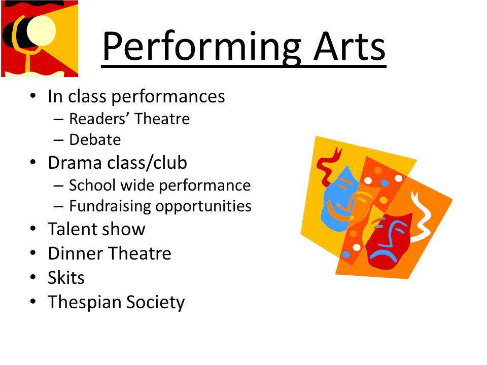Performing Arts In class performances Drama class/club Talent show