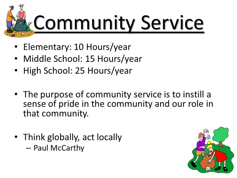 Community Service Elementary: 10 Hours/year
