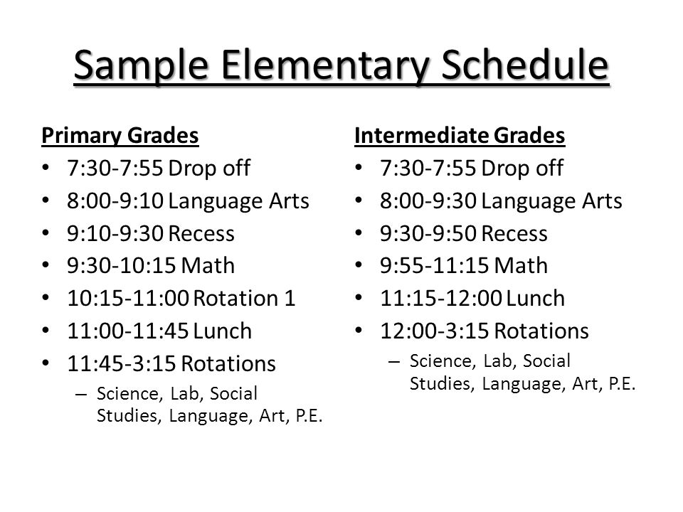 Sample Elementary Schedule