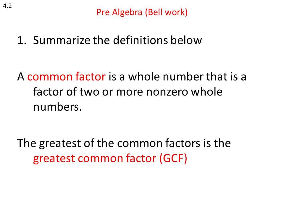 Pre Algebra (Bell work)
