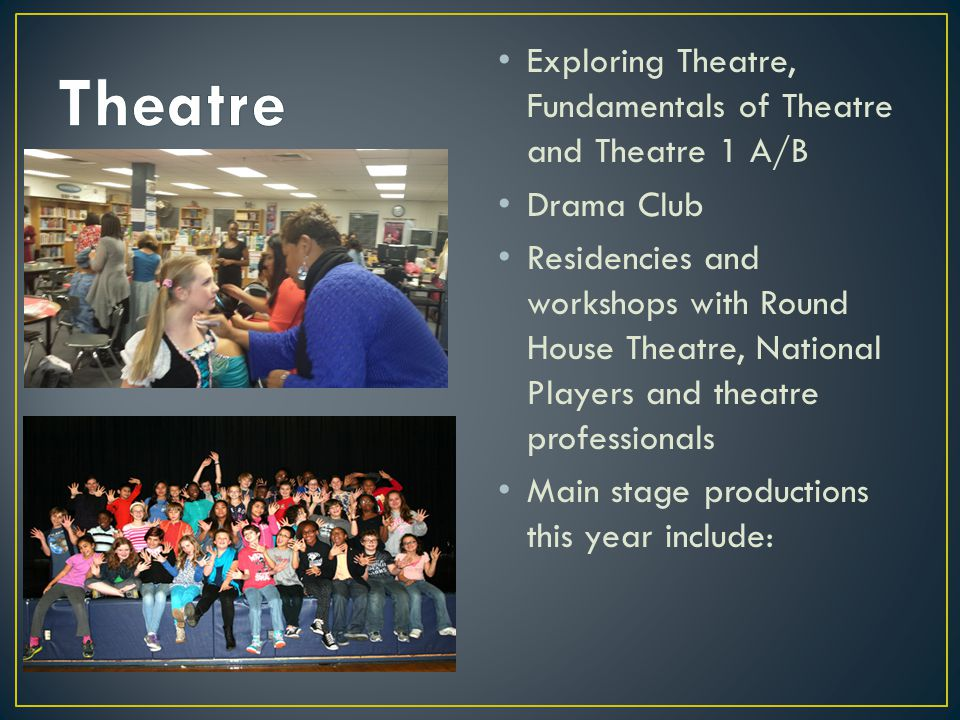 Theatre Exploring Theatre, Fundamentals of Theatre and Theatre 1 A/B