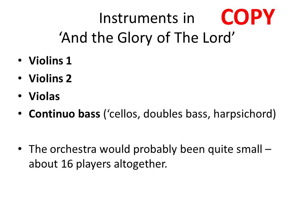 Instruments in 'And the Glory of The Lord'