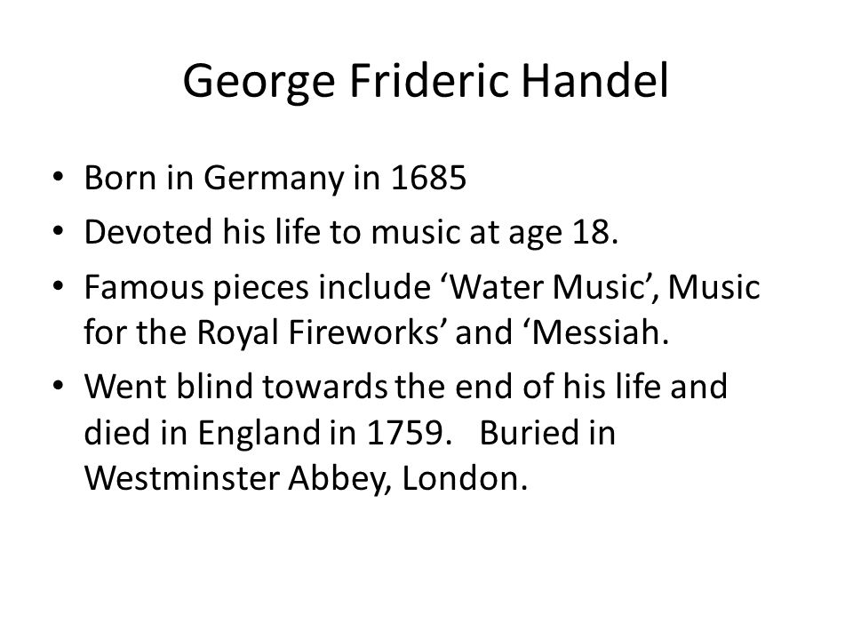 A biography of the life and literary life of george frederik handel
