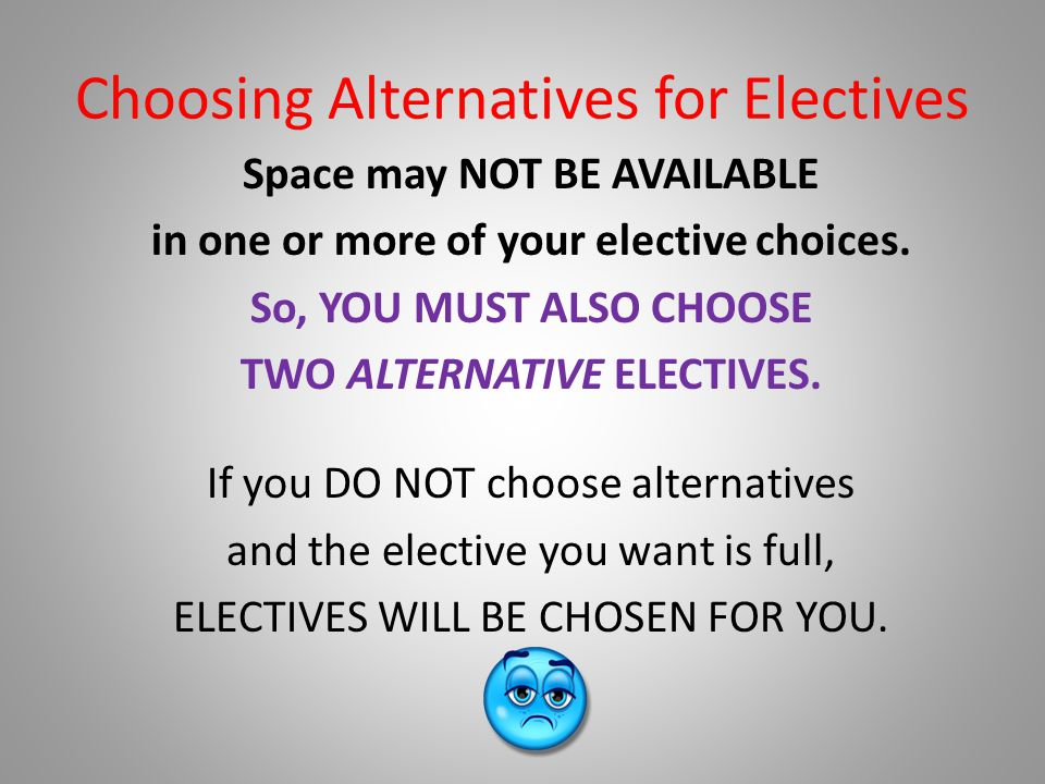Choosing Alternatives for Electives