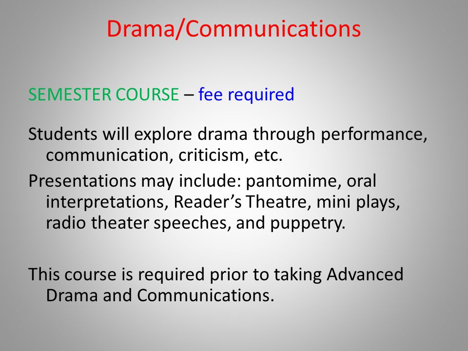 Drama/Communications