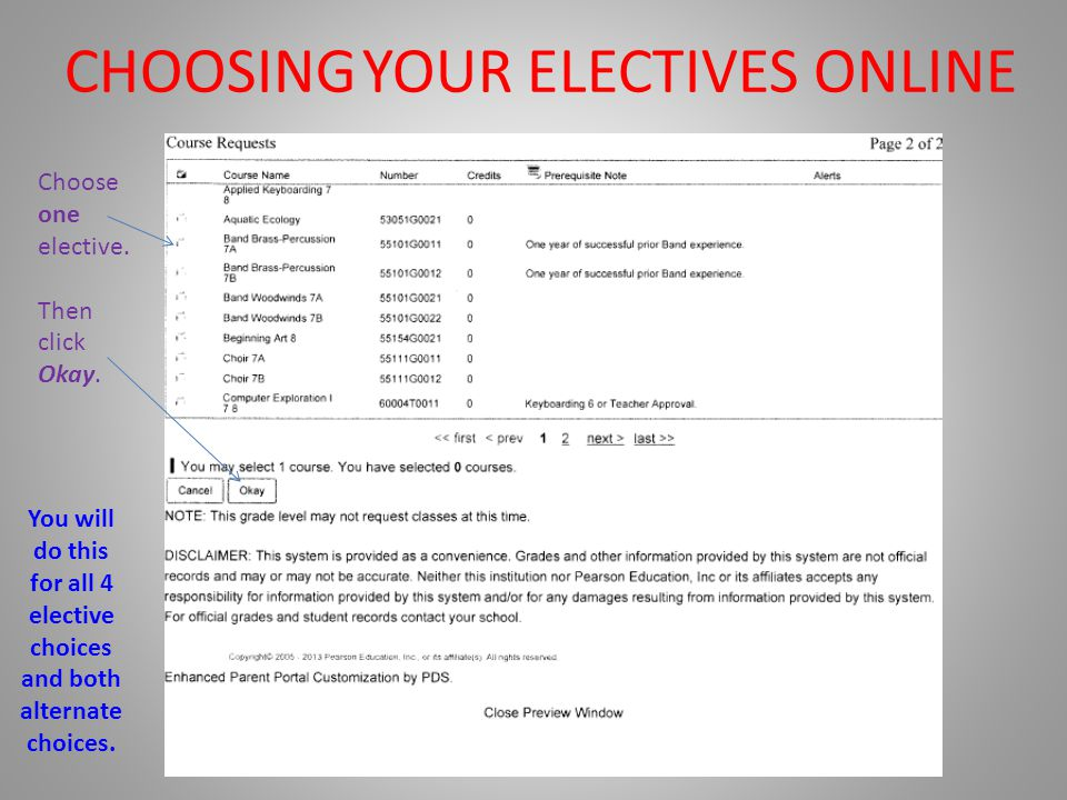 CHOOSING YOUR ELECTIVES ONLINE