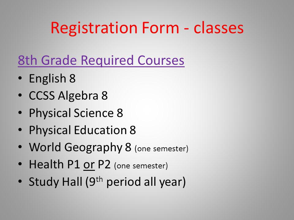 Registration Form - classes