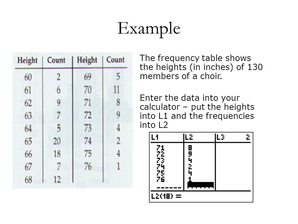 Example The frequency table shows the heights (in inches) of 130 members of a choir.