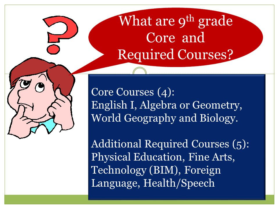 What are 9th grade Core and Required Courses