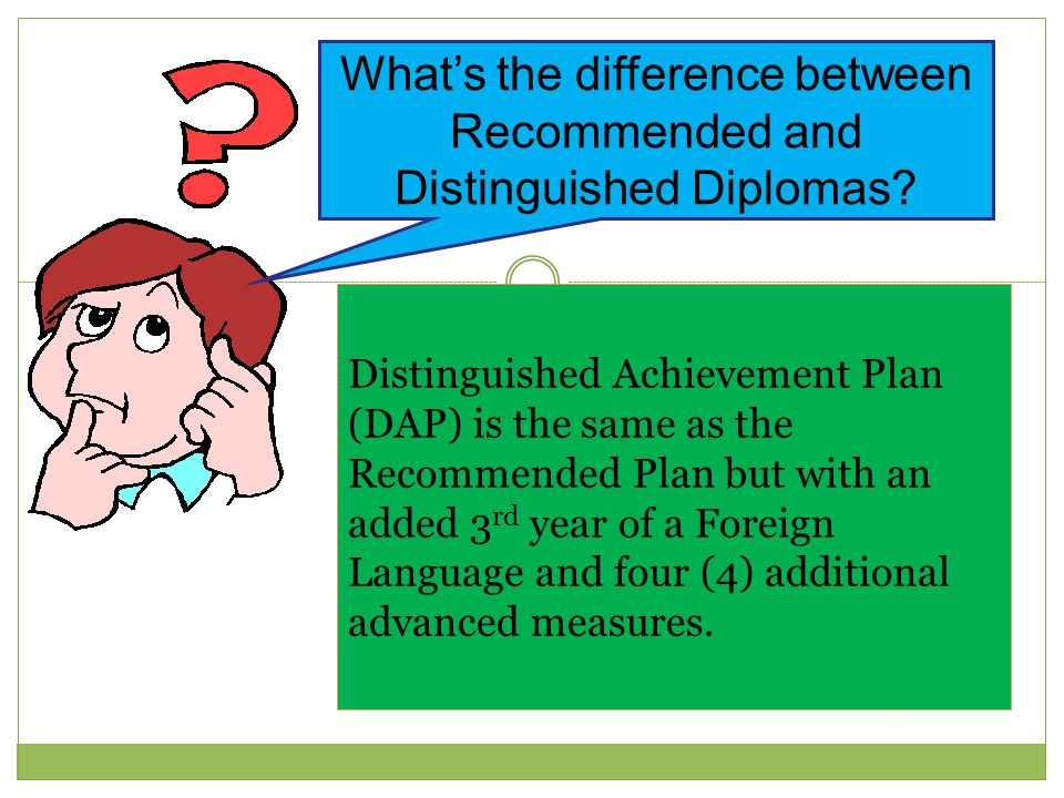 What's the difference between Recommended and Distinguished Diplomas