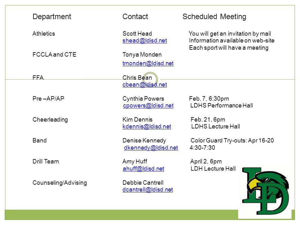 Department Contact Scheduled Meeting