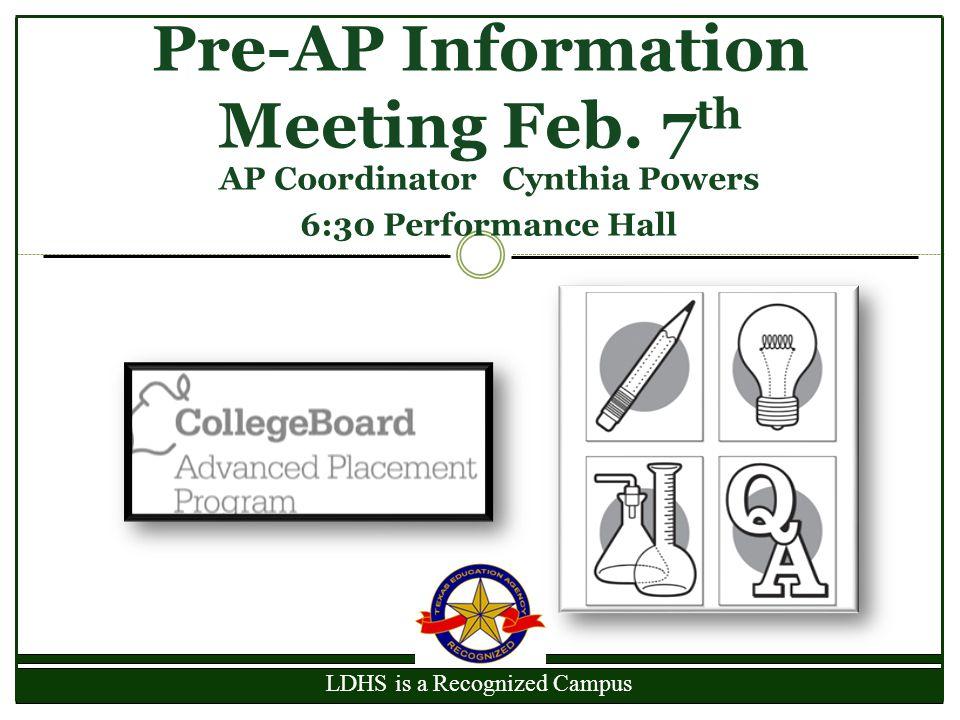 Pre-AP Information Meeting Feb. 7th