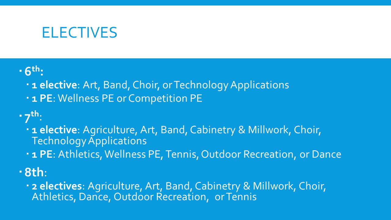 electives 6th: 1 elective: Art, Band, Choir, or Technology Applications. 1 PE: Wellness PE or Competition PE.
